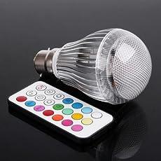 TOOGOO(R) Colorful LED Light RGB Bulb Lamp 9W B22 with Remote Control