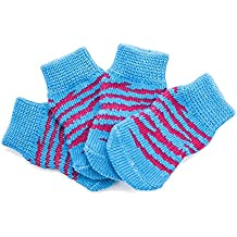 Calcetín para perros, antideslizante Wear Foot Blue Red Stripe Calcetines de algodón para perros mascotas Calcetines antideslizantes Calcetines calientes de otoño invierno Calcetines para pies 8PCS Set 4Size ( Color : Blue , Size : S )