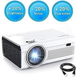 Mini Vidéoprojecteur Crosstour Portable Rétroprojecteur HD 1080P Supporté 55,000 Heures LED Compatible avec HDMI/AV/VGA/USB/TF/TV Box/PC/PS4 et Smartphone