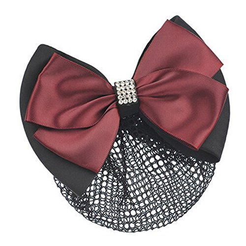 Mesdames Bow Tie Spring clip Barrette Barrette Pin Snood Cheveux net, Rouge