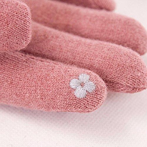 ZHGI Guanti, guanti di lana, autunno e inverno le donne coreane guanti, guanti touch screen, regali del nuovo anno,Grigio