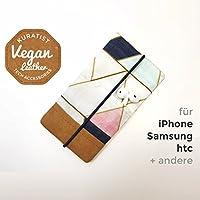 iPhone-Tasche Triangles Navy Mint Pink / Handytasche / Smartphone Case / Vegane Handytasche / Vegane Accessoires / Geschenk zum Muttertag
