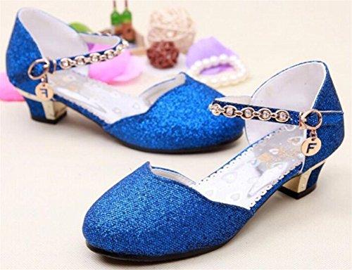 SMITHROAD Kinder Mädchen Prinzessin Schuhe Tanzschuhe PU Leder Strass Applikation Knöchelriemchen Halbschuhe mit Absatz Blau
