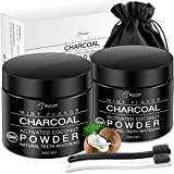 Teeth Whitening[2 Pack],BESTOPE Organic Activated Charcoal Powder with 2 Toothbrushes,Safe and Natural Tooth