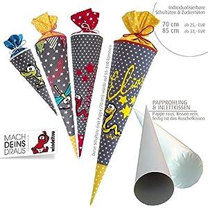 Schultüte, Zuckertüte in 70 cm oder 85 cm, grau Sterne weiß inklusive Papprohling mit vielen Personalisierungsmöglicheiten, als Kuschelkissen weiter nutzbar