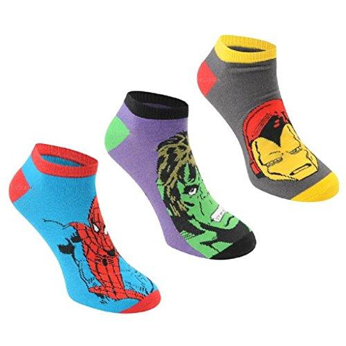 Herrensocken, mit Marvel-Superhelden-Design, 6 Paar/3 Paar, originell, Spiderman, Hulk, Captain America, Iron Man, Größe: 40-46 Gr. XS , Marvel Ankle Socks 3 Pairs (Neuheit Headcover)