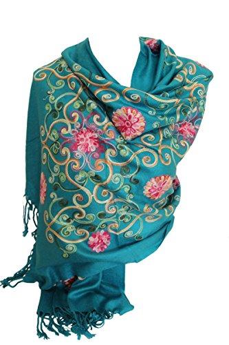 Prime luxueux pashmina brodé Foulards Feel Echarpe châle foulard enveloppé Vert de mer