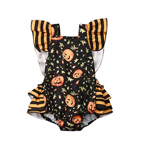 DIASTR Neugeborene Kleidung Junge Sommer Halloween Cosplay Kostüm Strampler Mädchen Halloween Kürbis Strampler Bodysuit Kleidung - Nette Armee Mädchen Kostüm