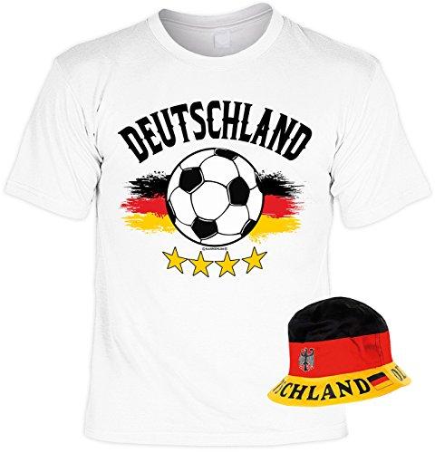 VERI 2-teiliges Fussball WM 2018 Fanartikel Set Fan T-Shirt Deutschland Fahne Trikot in weiss und Hut Fischerhut Sonnenhut Gr. 52-59 cm Gr. XXL : -