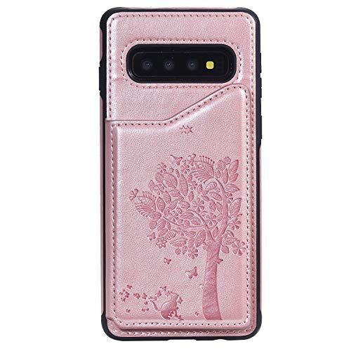 ZCXG Kompatibel Mit Handyhülle Samsung Galaxy S10 Hülle,Schutzhülle Silikon Leder Flip Tasche Geldbörse mit Kartenfach Ständer Funktion Brieftasche Handyhülle für Samsung Galaxy S10 - Rose Gold