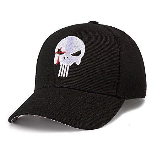 Gorra de Béisbol Negro Ajustable Mujeres Hombres Sombreros Primavera Verano Estilo Vintage Sombrero Bordado Calavera