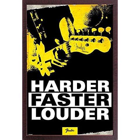 Empire Interactive - Poster, soggetto: Fender-Harder, Faster, Louder cornice di legno legno MDF noce - Fender Noci