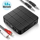 Transmetteur Récepteur Bluetooth 5.0, Adaptateur Bluetooth Sans Fil 2 en 1 Transmetteur et Récepteur avec Sortie Stéréo RCA Jack3.5mm APTX Faible Latence pour Casque TV Phone Tablettes