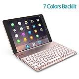 OBOR Aluminium Alliage Nouveau iPad 9.7 pouces/ipad Air Keyboard Case - 7 couleurs Backlight Flip Wireless Bluetooth Keyboard Protective Shell pour 2017 Apple New iPad 9.7''/iPad Air (Or rose)