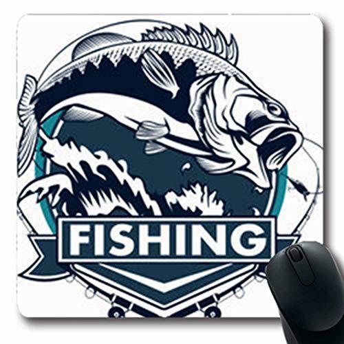 Gsgdae Mousepads Vintage Angeln Bass Fish Rute Club Wildlife Largemouth Black Walleye Emblem White Jump Lure Fin Längliche Form 20 x 24 cm rechteckig Gaming Mauspad Anti-Rutsch Mauspad -
