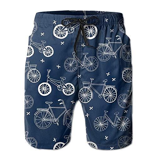 magic ship Hand Drawn Navy Blue Kids Bikes Bicycles Men's Board Shorts Swim Trunks Beachwear Summer Surf Printed Casual Water Shorts L