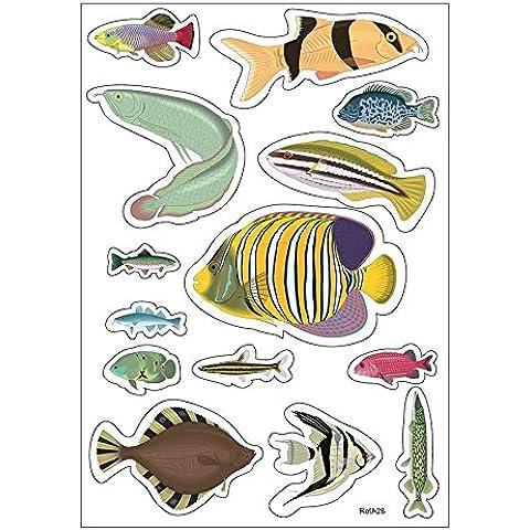 Foglio A4di adesivi pesci adesivo