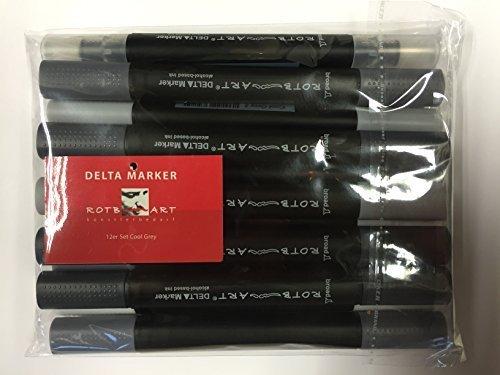 DMSCG-OT - Delta Marker, 12er Set Cool Grey. Die bewährten Twin/Zwilling Marker - mit einer breiten und einer feinen Spitze! -