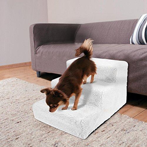 Sailnovo Hundetreppe Katzentreppe Haustiertreppe mit 3 Stufen Weiß, waschbareren Bezug - ideale Rampe für ältere oder kleinere Hunde Katze