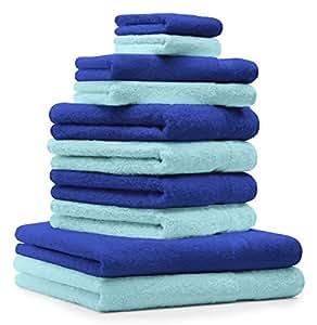 10 tlg Handtuch Set Classic Premium Farbe Royal Blau & Türkis 100% Baumwolle 2 Seiftücher 2 Gästetücher 4 Handtücher 2 Duschtücher