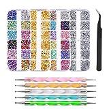 FOCCTS 4300Pezzi Kit di Strass Brillantini Per Nail Art con 6 Raccogli Le Pinzette Multicolore Borchie per Unghie Strass di Cavallo Occhio per Forniture per Decorazioni per Unghie