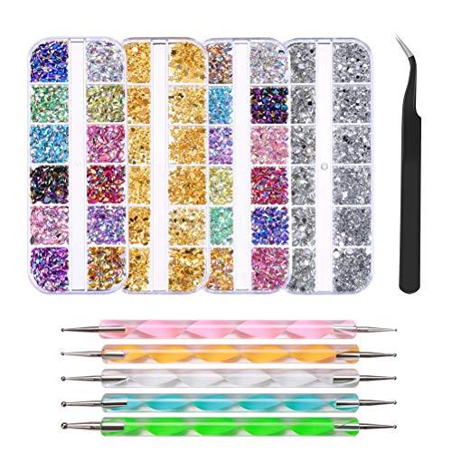 FOCCTS Nagel Kunst Strasssteine mit Dotting Tools,3D Edelsteine,Diamant für Nail Art, Nägel Dekorationen mit Pinzette