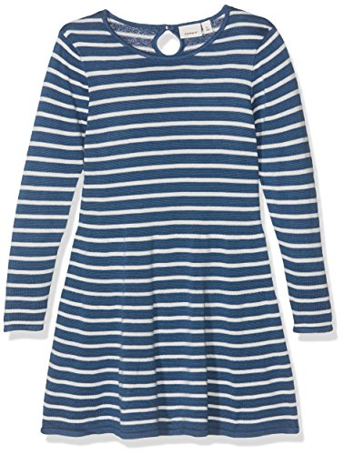 NAME IT Baby-Mädchen Kleid Nitgetimma LS Knit Dress F Mini Mehrfarbig (Ensign Blue), 104