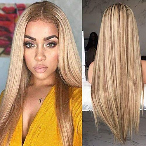Blonde Volle Kappe (Frecoccialo Damen Blond Perücke Lang Glattes Haar Fashion Ash Blonde Weiche Volle Perücken Fasching Cosplay Party Kostüm (Ohne Kappe-2))