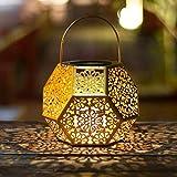Solarlaterne beleuchtet, hängenden Garten im Freien beleuchtet Goldmetalllampe für Patio, draußen oder Tabelle