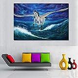 tzxdbh Magische Pegasus Tier Wandbilder Für Wohnzimmer Pferd Tier Leinwand Malerei Gedruckt Poster Kein Rahmen-in Malerei & Kalligraphie Gruppe KEIN Rahmen 20x30 cm