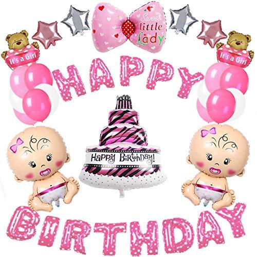 MMTX fuentes de decoraciones de fiesta de cumpleaños, feliz Ballon Banner, 10 piezas de lámina de helio y 12 piezas de látex globos para niña pequeña fiesta de cumpleaños, Baby Shower (rosa)
