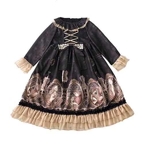 Kostüm Einheitliche Mädchen Schule - WDL-shop Beiläufige Lange Hülse süßes Lolita Prinzessin Kleid, Japan-Schulrock, Karikatur-Romantisches Design Cosplay-Kostüm-einheitlicher Spitze-Bogen-Anime-Mädchen,S
