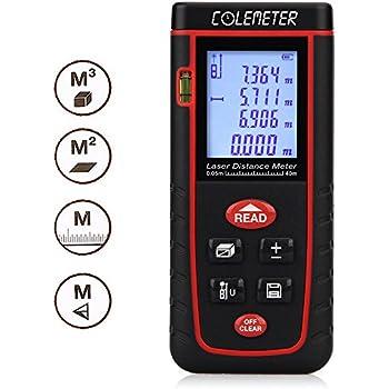 COLEMETER® Télémètre Numérique Mesure / mesureur / calcul Mètre Distance Zone Surface Volume 0.2-40m (rouge)