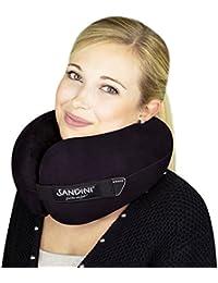SANDINI TravelFix® – Almohada premium de viaje/ Almohada para el cuello con función de soporte ergonómico – AMPLIA VARIEDAD – Disponible en exclusiva con compensación térmica Outlast® – Bolsa de transporte GRATUIDO con el clip de sujeción – Diseñada en Alemania/ Fabricada en la UE/ Nominada al German Design Award 2017