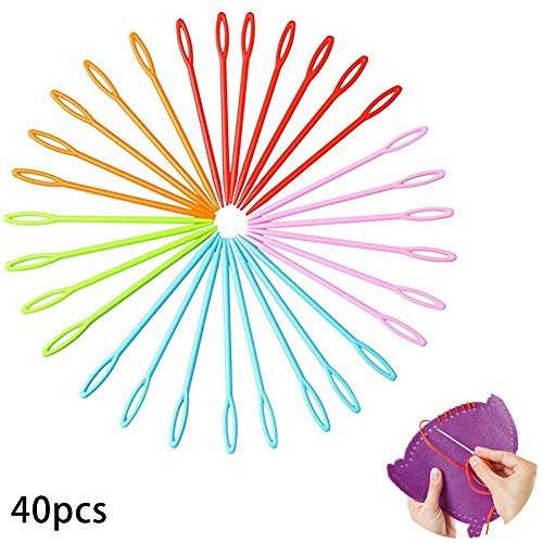 Paquete de 40 agujas de plástico multicolor para niños de 7 cm. Para costura, Binca y tapiz