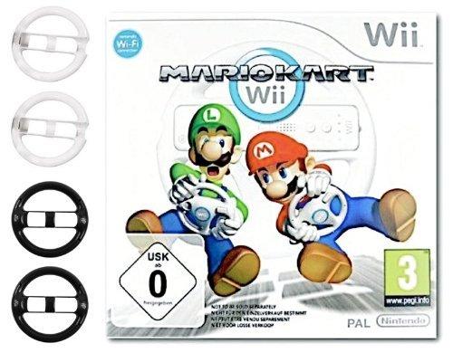 NINTENDO Wii MARIO KART SPIEL + 4 x DINOTECH LENKRÄDER: 2x CLASSIC...