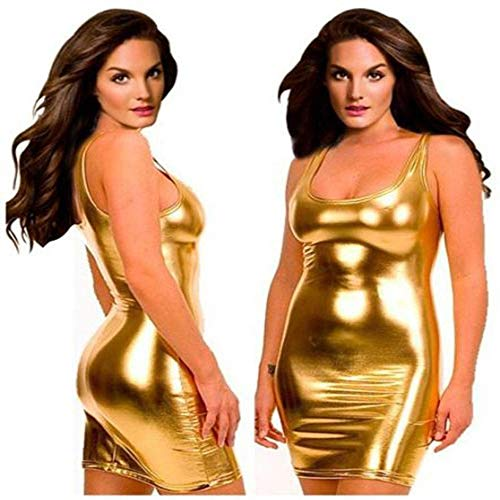Gold Kostüm Unitard - SCYTSD Damen Kunstleder Lackleder Dessous Minikleid ärmellose Enge Nachtwäsche Playsuit Unitard Kostüm Club Kleidung S ~ 5XL,Gold,XXXXL