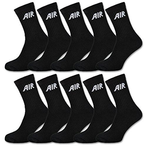 sockenkauf24 10 Paar AIR Damen & Herren Socken Sportsocken Baumwolle Schwarz oder Weiß (47-50, 10 Paar | Schwarz)
