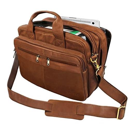 ...  Alexander  Borsa da lavoro uomo pelle marrone portadocumenti grande  borsa porta PC ventiquattrore da ufficio cartella per la scuola borsa a  tracolla 4792c46cc7a