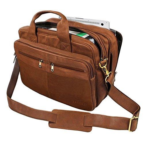 STILORD 'Alexander' Lehrertasche Herren Leder braun Aktentasche Laptoptasche Bürotasche Businesstasche Ledertasche Vintage groß XXL Umhängetasche mit Dreifachtrenner, Farbe:braun