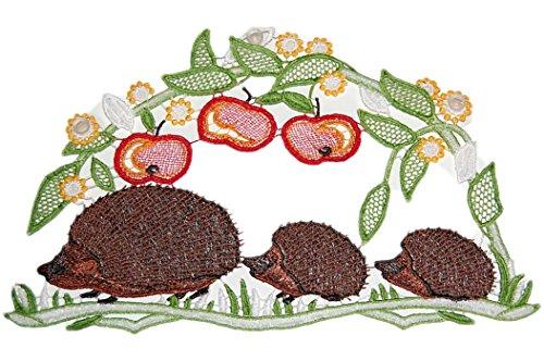 Plauener Spitze Fensterbild Igelfamilie 16x26 cm + Saugnäpfe Blätter Apfel Spitzenbild Fensterschmuck Herbst (Halloween-die Grenzen Transparent)