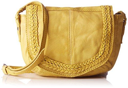 PIECES Pcmonica Leather Cross Body, Sacs portés épaule femme, Gelb (Lemon), 14x30x35 cm (L x H P)