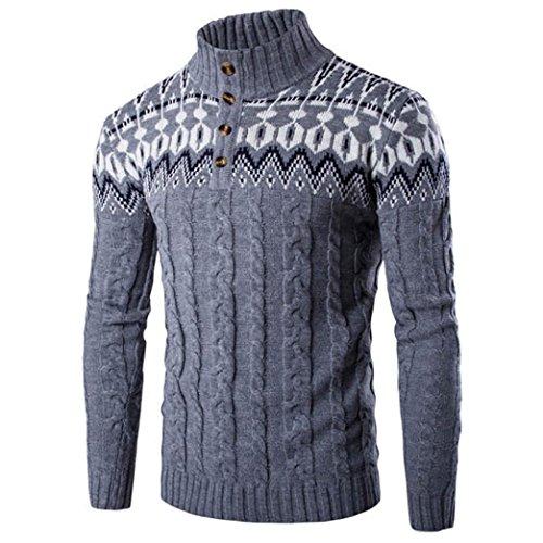 Bluestercool Männern genagelt Taste Wind Neck Pullover Jacke Bluse - 4 Farben (M, Dunkelgrau)