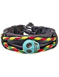 PAPAYANA Hippes Leder-Armband besetzt mit türkisem Stein in Skull-Form und Reggae-Bändern