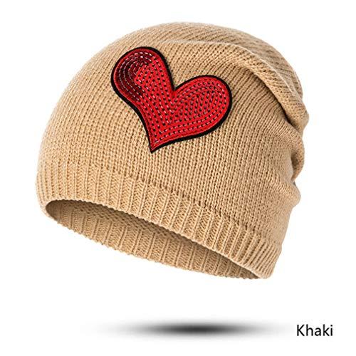 EJKDF Frauen Winter Hut Beanie Strickmützen Hüte Weibliche Mode Outdoor Cap Hut Für Mädchen Einfarbig khaki2