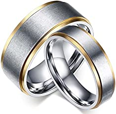 Moneekar Jewels Silver Stainless Steel Couple Rings for Men and Women