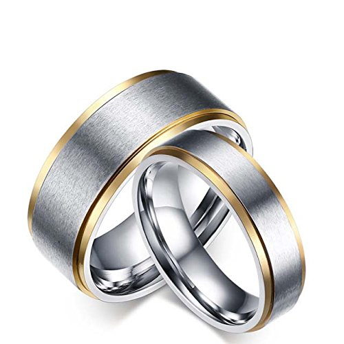 Platinum Style Double Grooves Stainless Steel Promise, Couple Ring or Wedding Bands for Men & Women