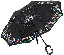 Plemo Paraguas Flores con Apertura Invertida, Paraguas de Doble Capa con Autonomía y Mango en forma de C para un uso Libre de Manos
