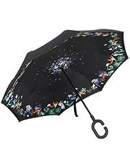Parapluie Golf PLEMO Parapluie Inversé Double Couche Anti-Vent Autoportant, Mains Libres Poignée en forme C, Idéal pour Voiture, Voyage et Shopping, Noir avec motifs Floraux IU-01