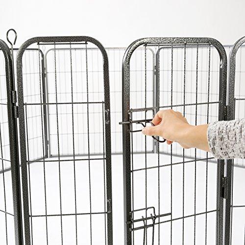 TRESKO® Welpenlaufstall Freilaufgehege Welpenauslauf Hundelaufstall Tierlaufstall Hunde, mit Tür und wetterfester Hammerschlag-Lackierung - 3